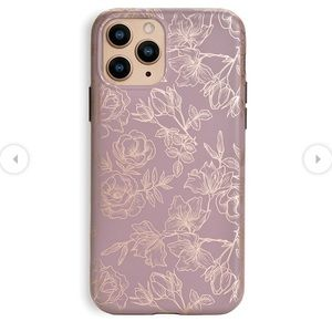 Dusty Rose Chrome Floral iPhone Case